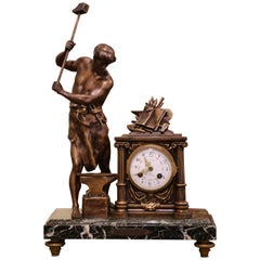 19th Century French Figural Spelter and Green Marble Mantel Clock After Picault