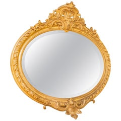 19th Century French Fine Louis XV Oval Mantle Mirror
