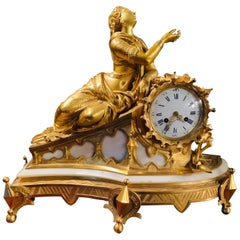 19th Century French Fire Gilded Mantel Clock by Japy Freres