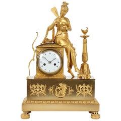 19th Century French Firegilt Mantel Clock, Fireplace Clock, Empire, circa 1820
