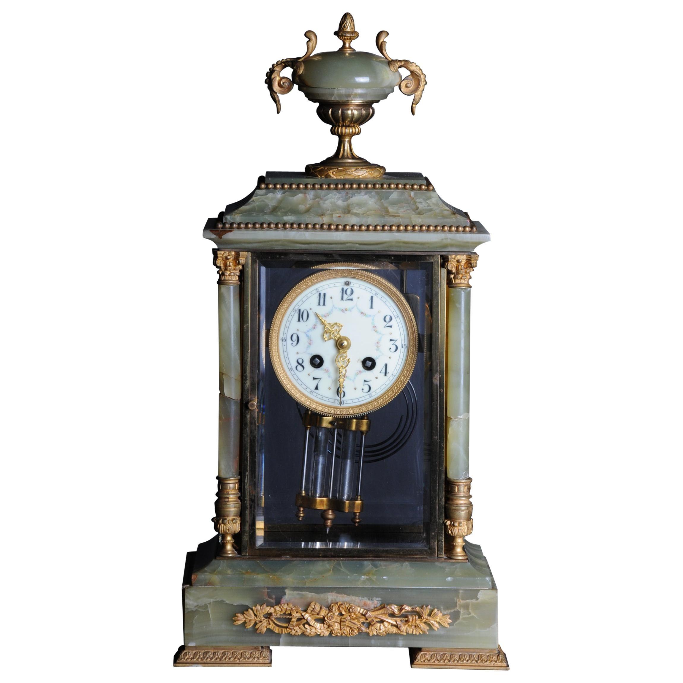 19th Century French Fireplace Clock Onyx 1889 L.Marti et Cie Napoleon III