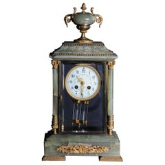 19th Century French Fireplace Clock Onyx 1889 L.Marti et Cie Napoleon III