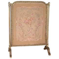 19th Century French Fireplace Screen in Hand Carved Frame and Silk Tapestry