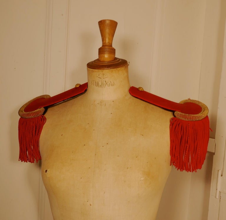 Gray 19th Century French First Officer's Uniform Red Epaulettes For Sale
