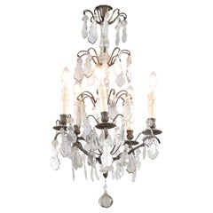 19th Century French Five-Light Iron and Crystal Chandelier with Pendeloques
