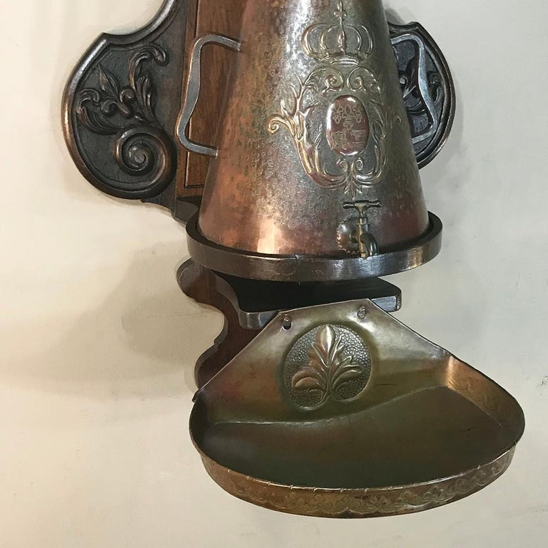 19th Century French Fleur de Lys Embossed Copper Wall Fountain on Wood Plaque For Sale 7