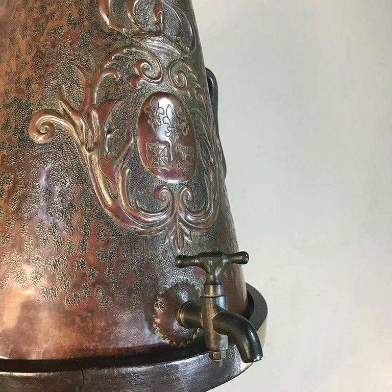 19th Century French Fleur de Lys Embossed Copper Wall Fountain on Wood Plaque For Sale 8