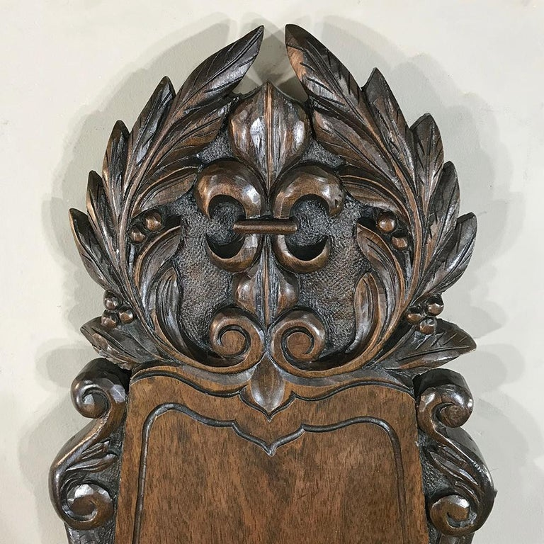 Hand-Carved 19th Century French Fleur de Lys Embossed Copper Wall Fountain on Wood Plaque For Sale