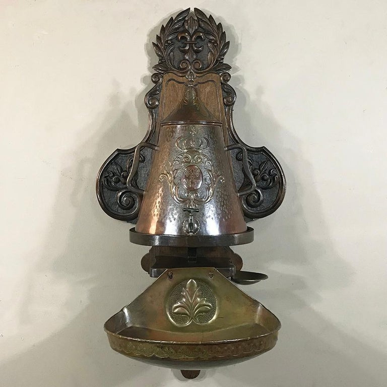 19th Century French Fleur de Lys Embossed Copper Wall Fountain on Wood Plaque For Sale 3