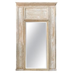 19th Century French Floor Mirror with Distressed White Paint
