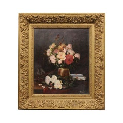19th Century French Floral Still-Life Painting Depicting Roses in Original Frame
