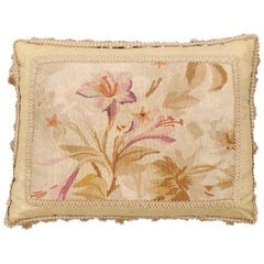 19th Century French Floral Themed Aubusson Tapestry Pillow with Tassels
