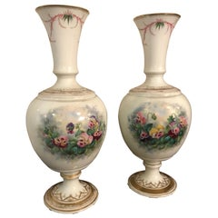 19th Century French Flowers Decoration Pair of Vases, 1850s