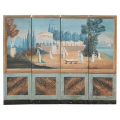 19th Century French Folding Screen with Original Hand-Painted Outdoor Scene