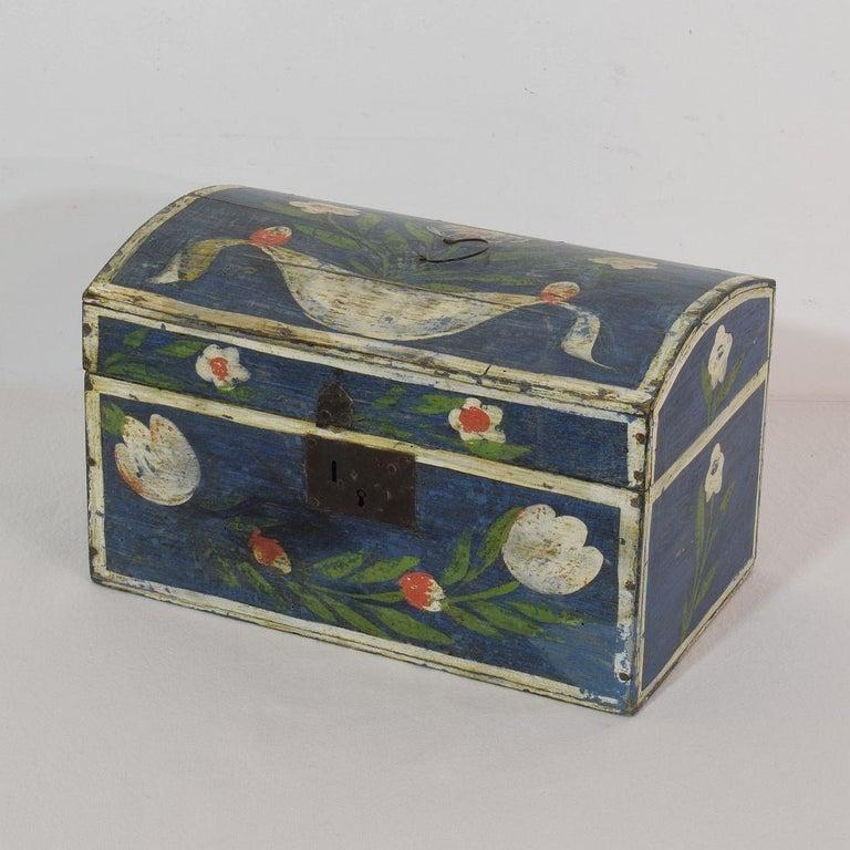 Beautiful Folk Art wedding box. Normandie, France, circa 1800-1850. Weathered. Lock missing.