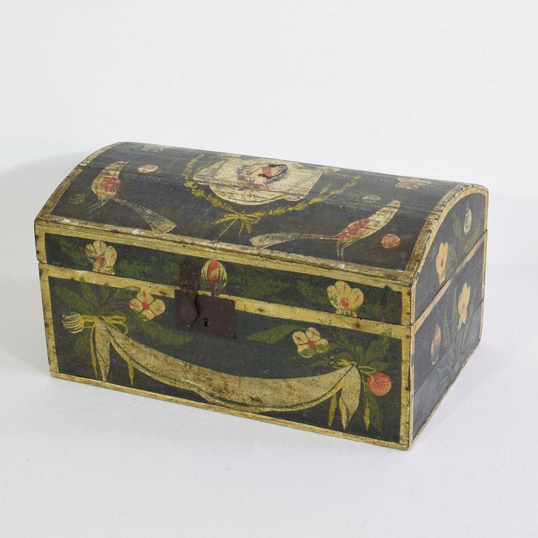 Beautiful Folk Art wedding box. Normandie, France, circa 1800-1850. Weathered and old restorations.