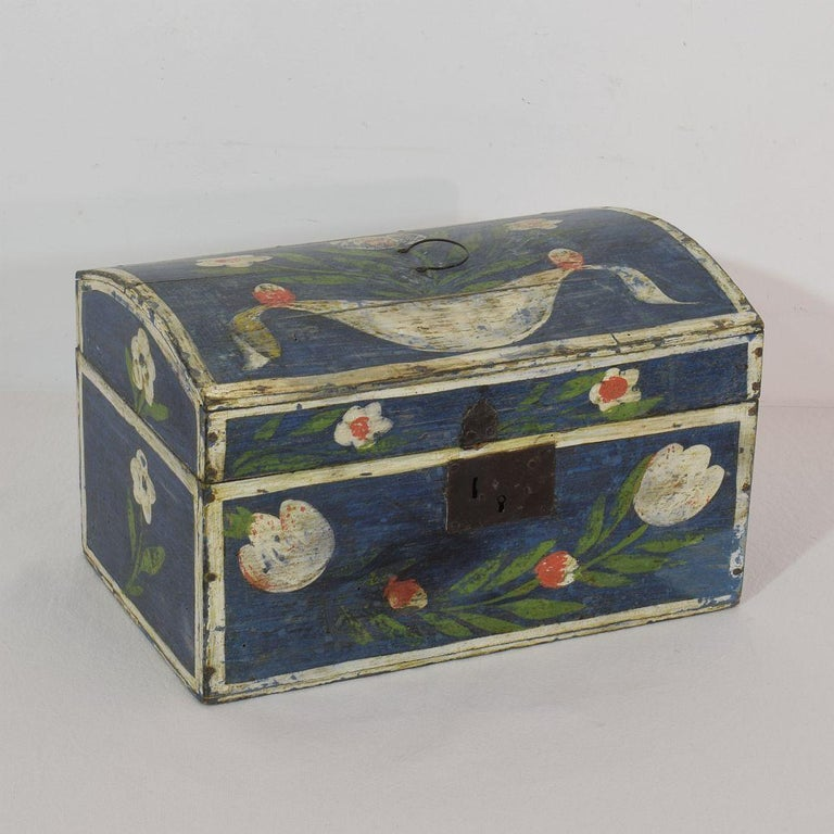 Hand-Crafted 19th Century French Folk Art Wedding Box from Normandy For Sale