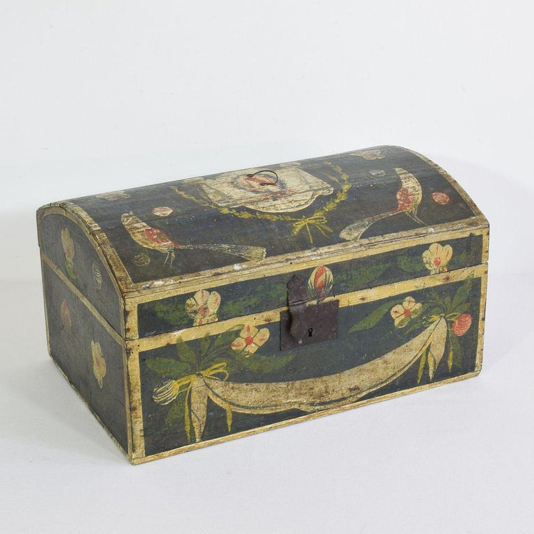 Hand-Crafted 19th Century French Folk Art Wedding Box from Normandy