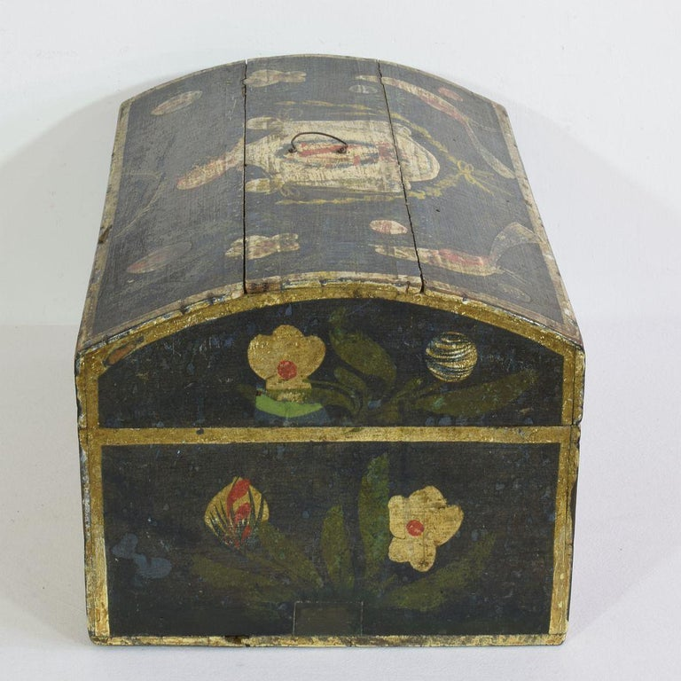 19th Century French Folk Art Wedding Box from Normandy In Good Condition In Amsterdam, NL