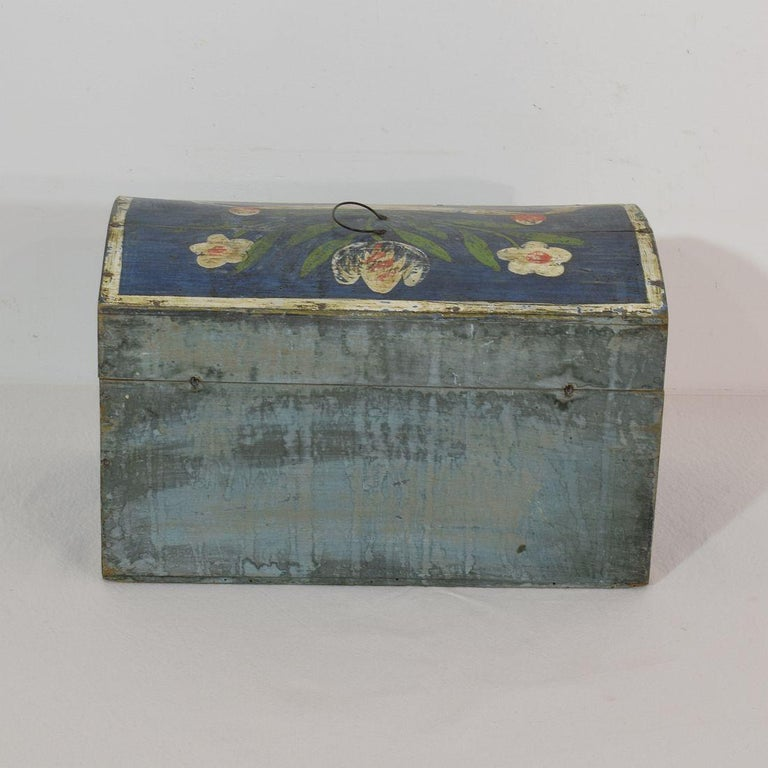 Wood 19th Century French Folk Art Wedding Box from Normandy For Sale