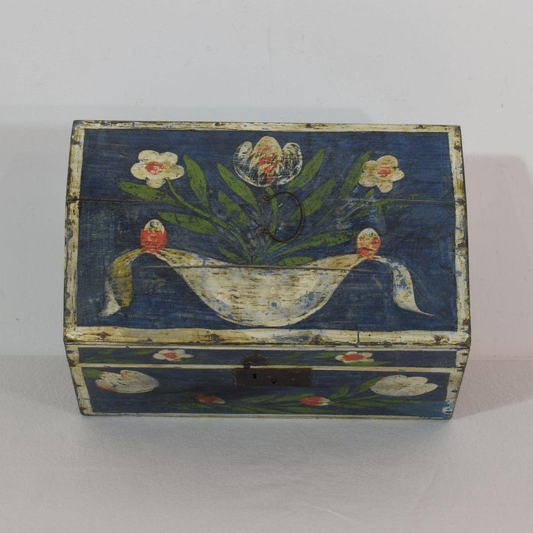 19th Century French Folk Art Wedding Box from Normandy For Sale 2