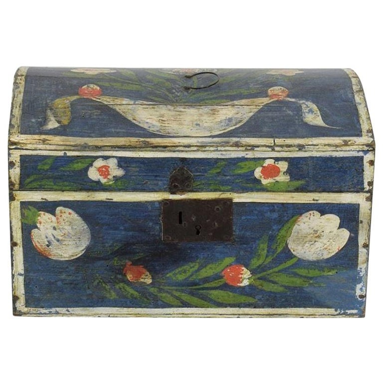 19th Century French Folk Art Wedding Box from Normandy For Sale
