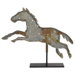19th Century French Folk Art Zinc Horse Weathervane Roof Finial