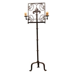 19th Century French Forged Iron Music Stand Lectern with Fleur-de-Lys