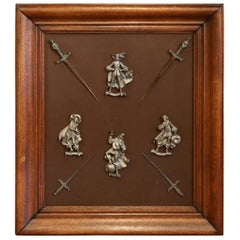 19th Century French Four Musketeers and Swords Metal Figures in Oak Frame