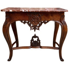 19th century French Foyer Console Hall Table Carved Oak Louis XV Marble Top