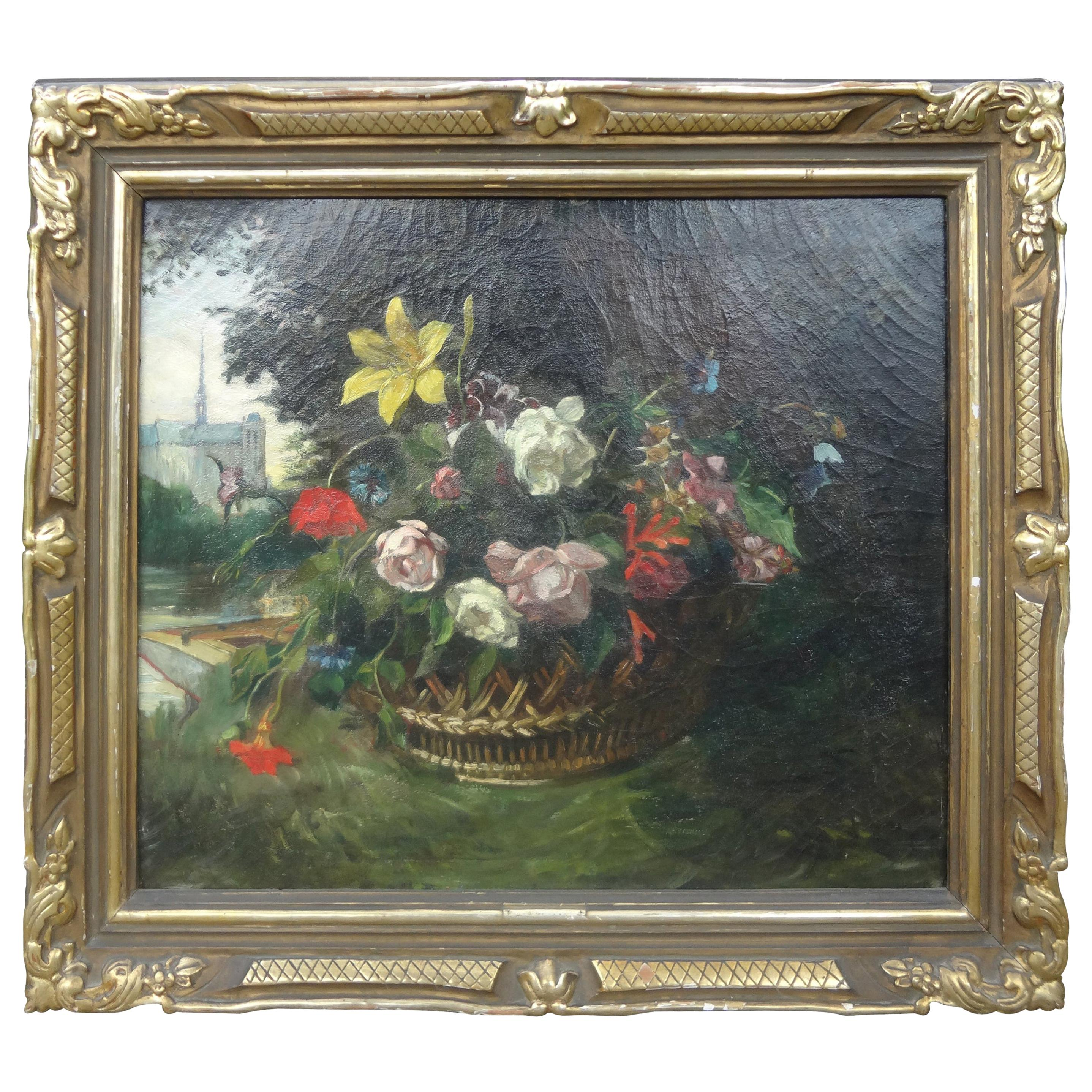 19th Century French Framed Floral Oil Painting