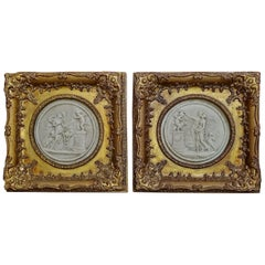 19th Century French Framed Marble Plaques Pair ft Cherubs