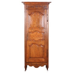 19th Century French Fruitwood and Oak Bonnetiere Single Door Armoire