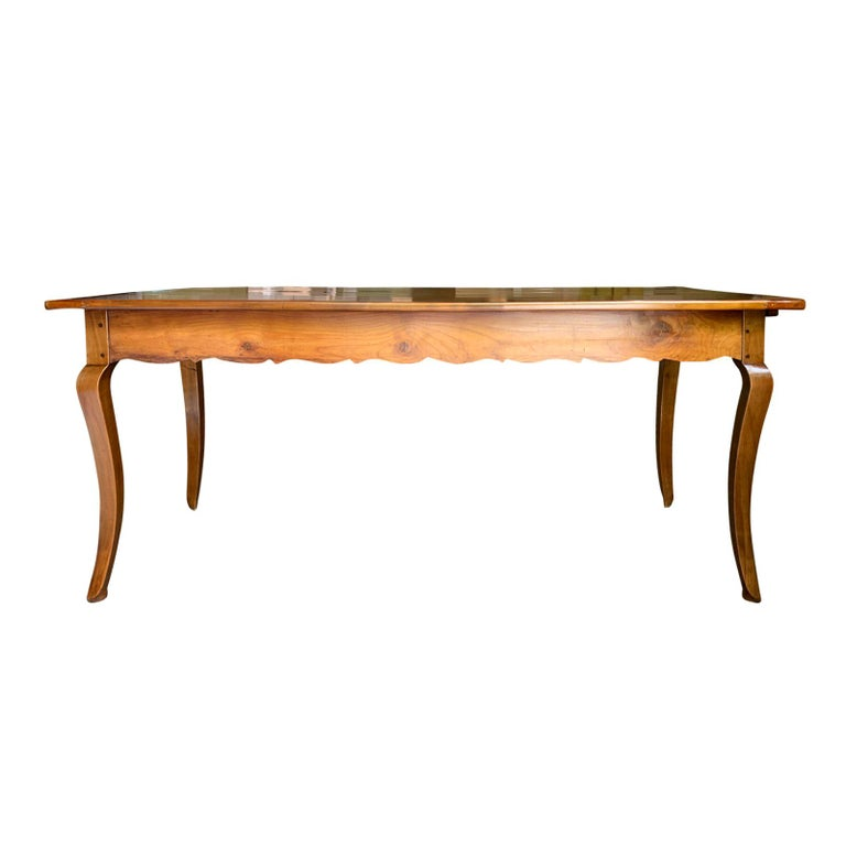 19th Century French Fruitwood Farm Dining Table With 1 Drawer 1 Slide