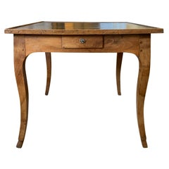 19th Century French Fruitwood Game Table, Green Leather Top, Four Drawers