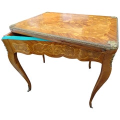 19th Century French Game Table, Napoleon III, Carved and Inlaid Wood and Bronzes