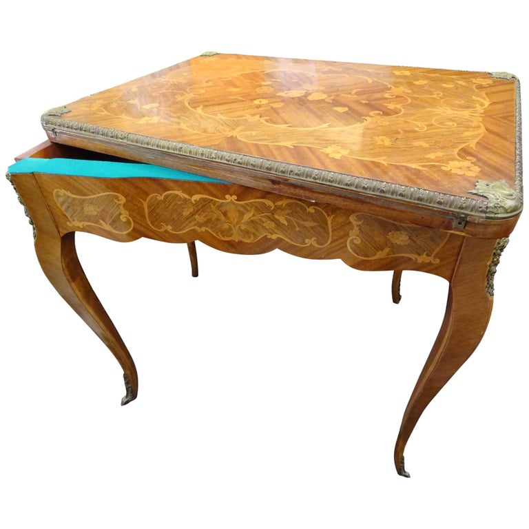 19th Century French Game Table, Napoleon III, Carved and Inlaid Wood and Bronzes For Sale