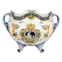 19th Century French Gien Faience Cachepot