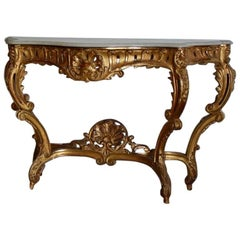 19th Century French Gilded Console Table