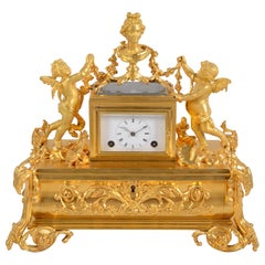 19th Century French Gilded Desk Clock and Inkwell