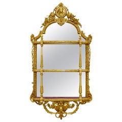 19th Century French Gilded Mirror Backed Wall Shelves