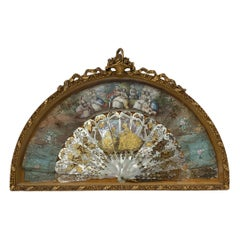 19th Century French Gilded Mother of Pearls Framed Ladies Fan