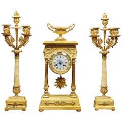 19th Century French Gilt Brass and Siena Marble Three-Piece Clock set