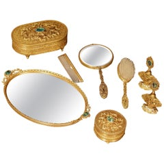 19th Century French Gilt Brass Eight-Piece Vanity Set with Cut Glass Medallions