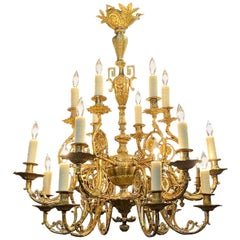 19th Century French Gilt Bronze 18-Light Chandelier