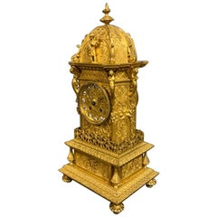 19th Century French Gilt Bronze 8 Day Mantle Clock by Raingo of Paris