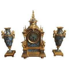19th Century French Gilt Bronze and Champlevé Enamel Clock Set Circa 1870