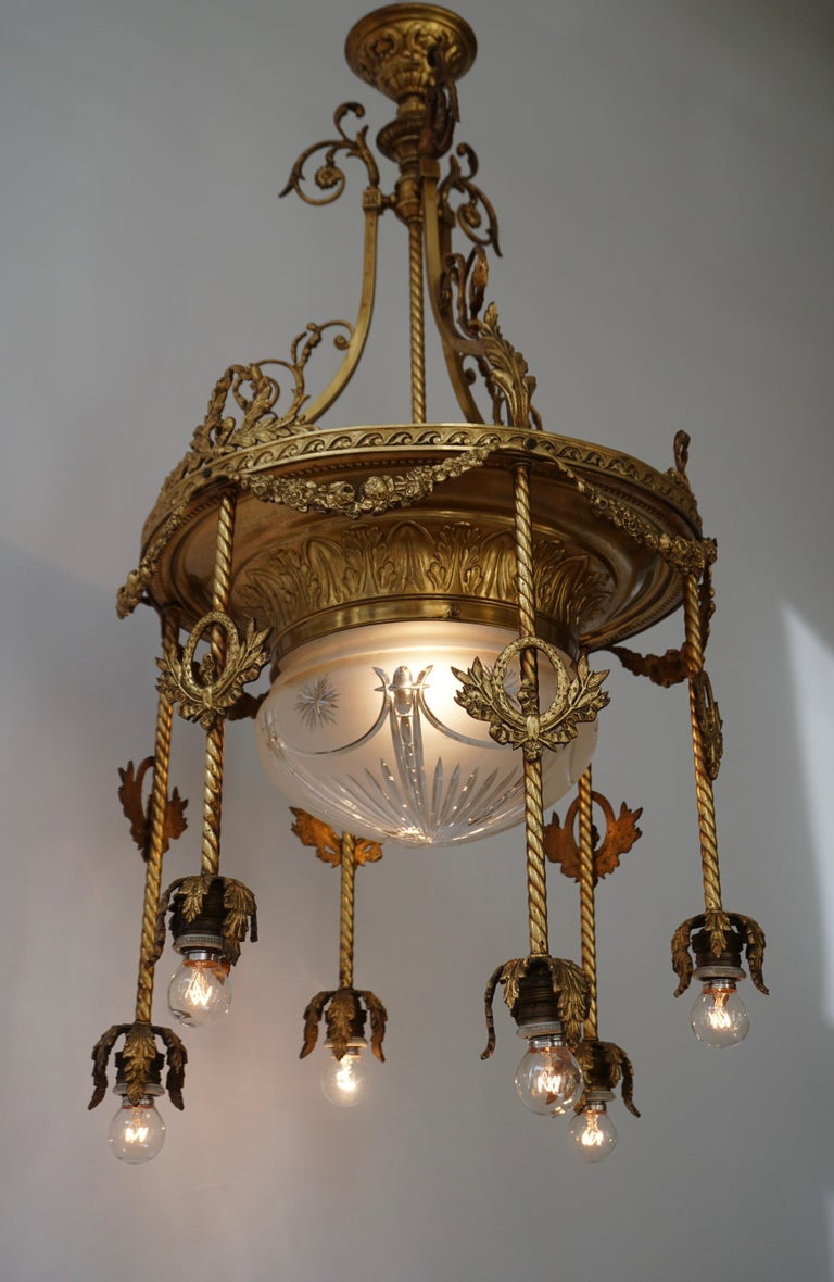 A 19th century French gilt bronze and crystal Aesthetic seven-light chandelier 