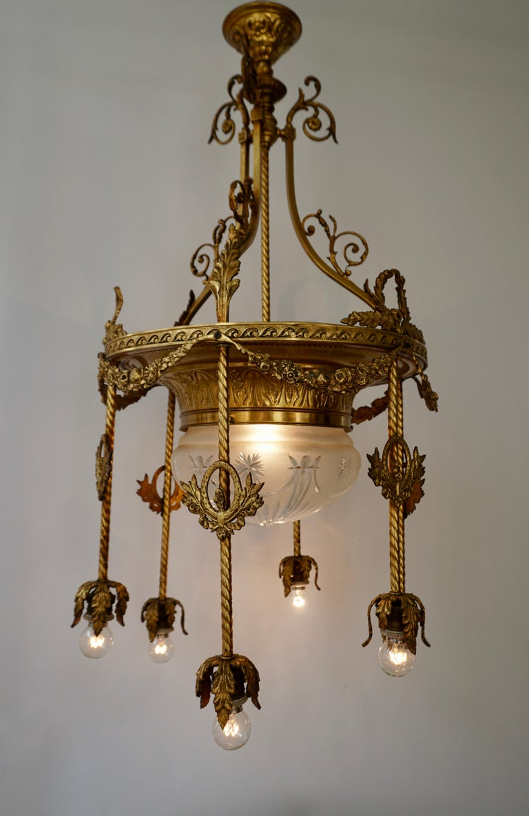Napoleon III 19th Century French Gilt Bronze and Crystal Aesthetic Seven-Light Chandelier For Sale