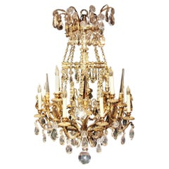 19th Century French Gilt Bronze and Crystal Twelve-Light Chandelier
